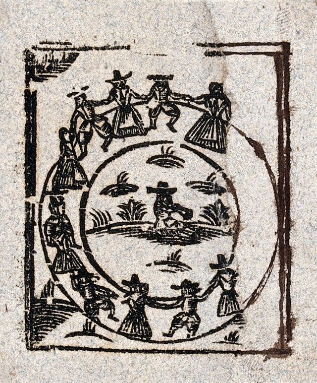 A circle of witches dance around a central figure. Woodcut, ca. 1700-1720. Via Wikimedia Commons.