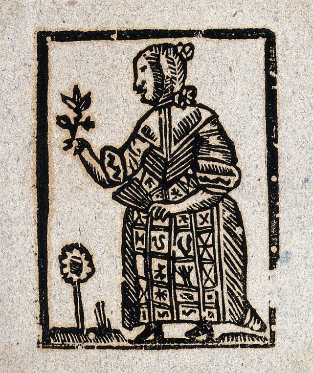 A witch holding a plant in one hand and a fan in the other. Woodcut, ca. 1700-1720. WellcomeImages.org. Licensed under Creative Commons 4.0.