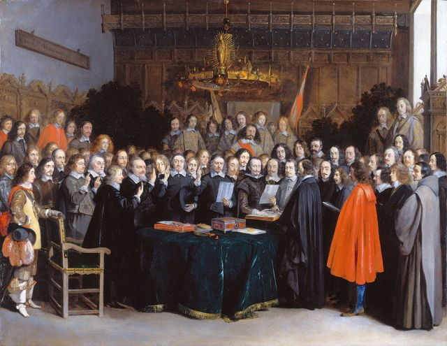 """In other words, it was created by these dapper gents. Ponder that for a moment. """"The Ratification of the Treaty of Münster,"""" 15 May 1648 (1648) by Gerard ter Borch. Public domain. Image via Wikimedia Commons."""