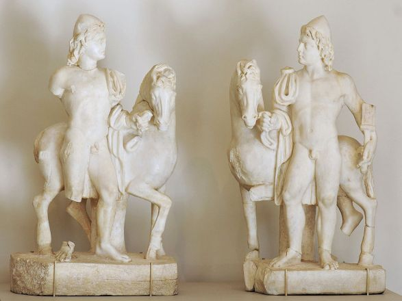 Pair of Roman statuettes (3rd century AD) depicting the Dioscuri as horsemen, with their characteristic skullcaps (Metropolitan Museum of Art). Image by Marie-Lan Nguyen (2011). (CC BY 2.5. Wikimedia Commons)