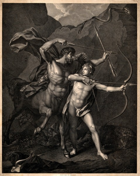 Chiron and Achilles. Lithograph after J.B. Regnault. Public domain. Via Wellcome Images. Credit: Wellcome Library, London. Wellcome Images images@wellcome.ac.uk http://wellcomeimages.org Chiron and Achilles. Lithograph after J.B. Regnault. Published: - Copyrighted work available under Creative Commons Attribution only licence CC BY 4.0 http://creativecommons.org/licenses/by/4.0/