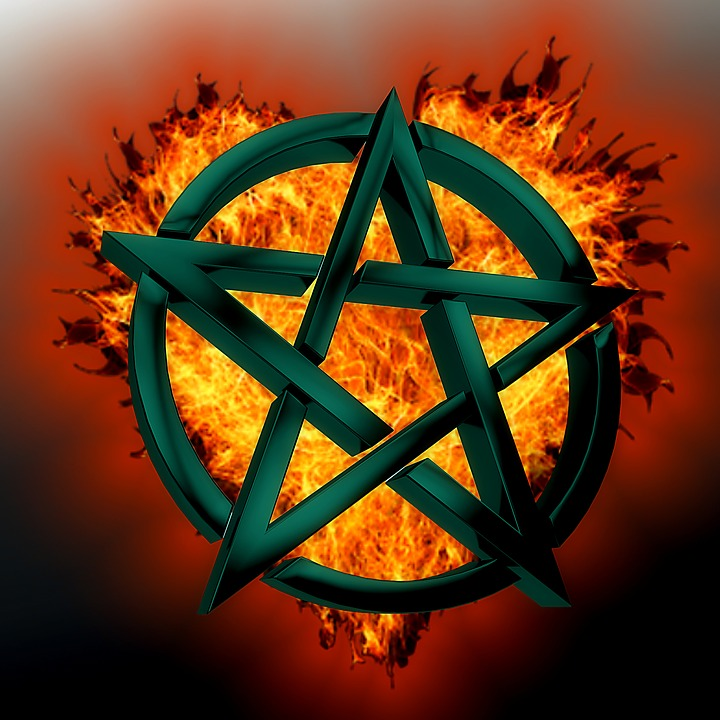 Symbol Green Mystical Pentagram Fire